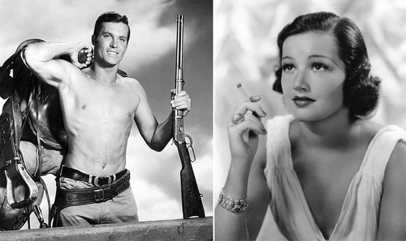 """Left: Ty Hardin in a publicity shot from the TV show, """"Bronco""""; right: Arline Judge in a Columbia Pictures publicity still"""