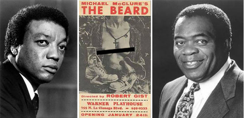 """Left to right, Paul Winfield, poster for """"The Beard"""" at the Warner Playhouse in January 1968, Yaphet Kotto."""