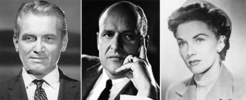 Left to right: Young Ted Knight, Werner Klemperer, Phyllis Coates.