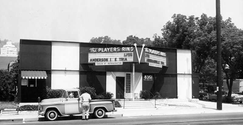 Players Ring, August 1961: Located at Santa Monica Blvd. and N. Flores Ave., the Players Ring was the best known and most popular theatre in the district.